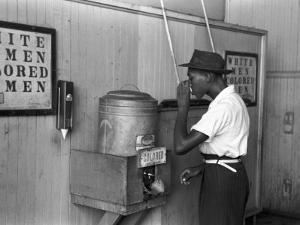 """""""Colored"""" Water Cooler in Streetcar Terminal, Oklahoma City, Oklahoma by Russell Lee"""