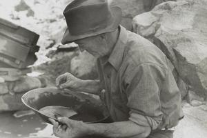 Man Panning Gold at Pinos Altos, New Mexico by Russell Lee