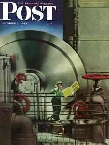 """""""How to Operate a Power Plant,"""" Saturday Evening Post Cover, October 2, 1943 by Russell Patterson"""