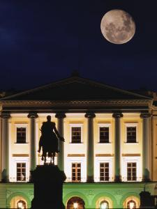 Full Moon over Royal Palace, Slotts Parken, Oslo, Norway by Russell Young
