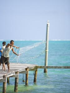 Net Fishing, Caye Caulker, Belize by Russell Young