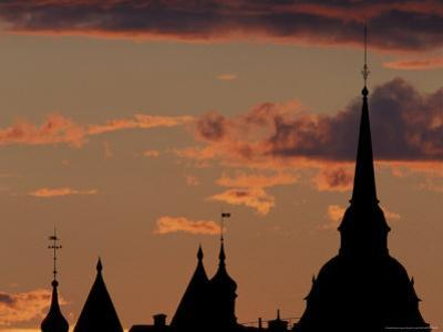 Towers of Mariahissen Along the Skyline at Sunset, Stockholm, Sweden
