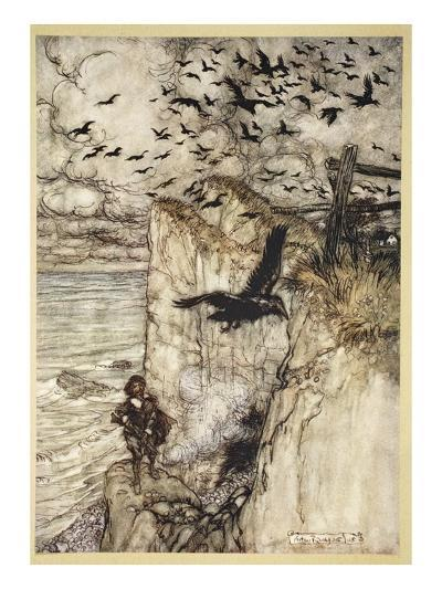 ..Russet-Pated Choughs, Many in Sort, Rising and Cawing at the Gun's Report-Arthur Rackham-Giclee Print