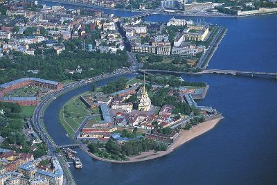 Russia, Central Saint Petersburg, Peter and Paul Fortress on River Neva, Aerial View--Giclee Print