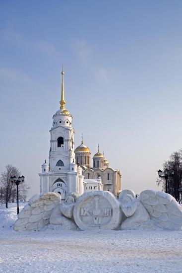 Russia, Golden Ring, Vladimir, Belltower and Assumption Cathedral with Statues--Giclee Print