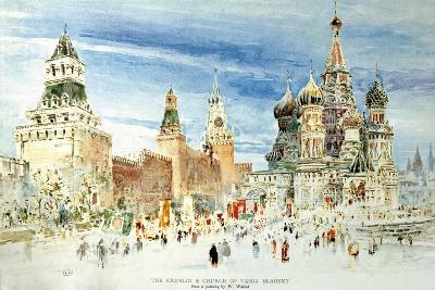 Russia, Moscow, Red Square with Kremlin Wall and Saint Basil's Cathedral--Giclee Print
