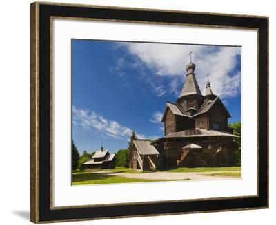 Russia, Novgorod Oblast, Veliky Novgorod, Vitoslavitsky Museum of Wooden Architecture, Traditional -Walter Bibikow-Framed Photographic Print