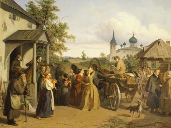 Russia, Official Saying Goodbye to His Family-Alessandro Manzoni-Giclee Print
