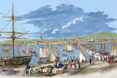 """Russia. Riga. 19th Century. Harbour. Engraving of """"L'Univers Illustre"""", 1861. Colored--Giclee Print"""