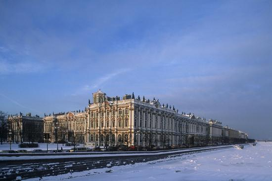 Russia, Saint Petersburg, Hermitage Museum and Ice Covered Neva River--Giclee Print