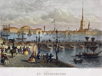 Russia, Saint Petersburg, Painting of the Troizkoi Bridge on Neva River--Giclee Print