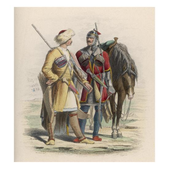 Russia - Two Circassian Soldiers--Giclee Print