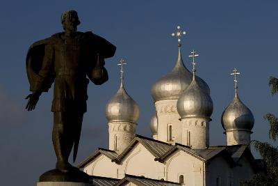 Russia, Veliky Novgorod, Alexander Nevsky Statue and Domes of Church of Saints Boris and Gleb--Giclee Print