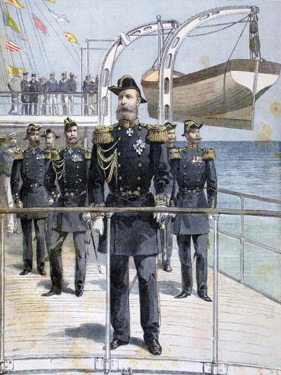 Russian Admiral Avellan on Board the Cruiser 'Emperor Nicholas I, 1893--Giclee Print