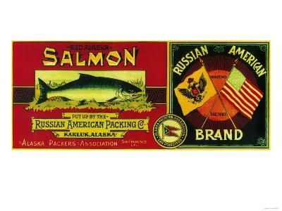 Russian American Salmon Can Label - Karluk, AK-Lantern Press-Art Print