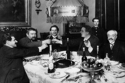 Russian Author Alexander Kuprin with Friends in Paris, 1930s--Giclee Print