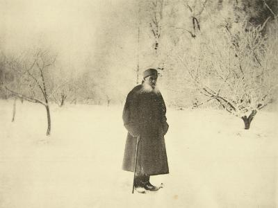 Russian Author Leo Tolstoy Taking a Winter Walk, 1900s-Sophia Tolstaya-Giclee Print