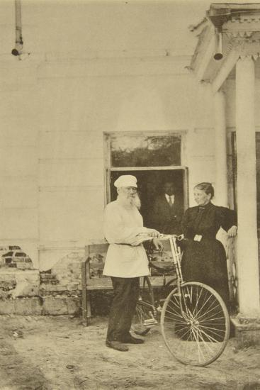 Russian Author Leo Tolstoy with a Bicycle, Russia, 1890s-Sophia Tolstaya-Giclee Print