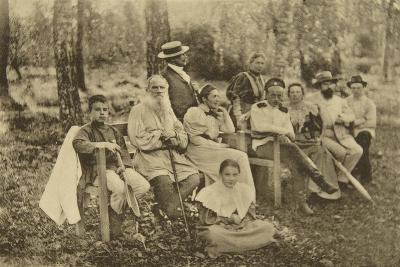 Russian Author Leo Tolstoy with Guests, Yasnaya Polyana, Near Tula, Russia, 1895-Sophia Tolstaya-Giclee Print
