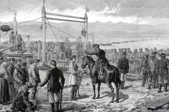 Russian Convicts under Military Escort Waiting to Be Ferried across the River Yenisei, 1882--Giclee Print