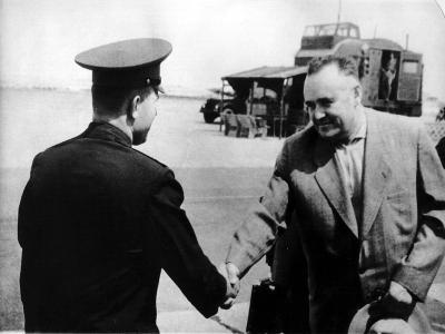 Russian Cosmonaut Yuri Gagarin and Rocket Engineer Sergey Korolyov, 1961--Giclee Print