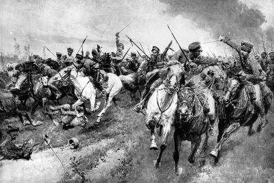 Russian Cossacks Attacking German Army, East Prussia, First World War, 1914--Giclee Print