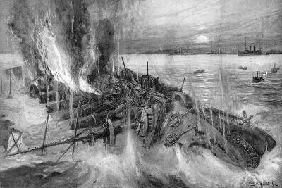 Russian Cruiser Foundering at the Battle of Cehmulpo, Russo-Japanese War, 1904-5--Giclee Print