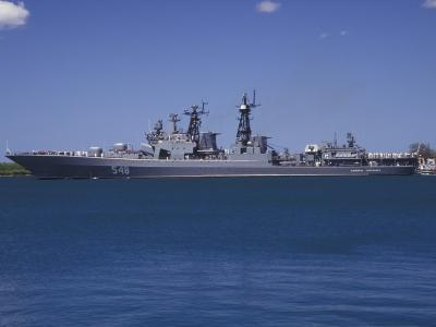 Russian Destroyer Admiral Panteleyev Transits Our of Pearl Harbor, Hawaii--Photographic Print