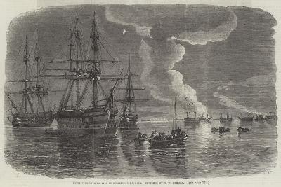 Russian Frigate on Fire in Sebastopol Harbour-Oswald Walters Brierly-Giclee Print