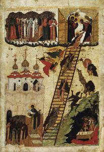 Heavenly Ladder of St. John Climacus (Tempera on Panel) by Russian