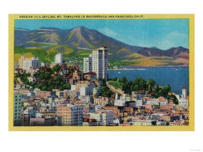 Russian Hill Skyline with Mt. Tamalpais in background - San Francisco, CA-Lantern Press-Art Print