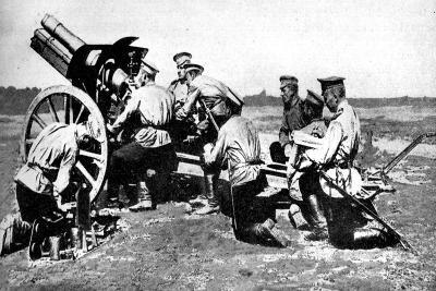 Russian Howitzer at Practice Fire, First World War, 1914--Giclee Print