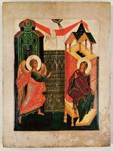 Icon Depicting the Annunciation, Novgorod School (Oil on Panel) by Russian