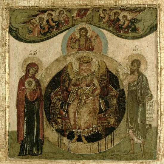 Russian Icon of Sophia, the Holy Wisdom, Enthroned in the Form of a Fiery Winged Angel, Moscow…--Giclee Print