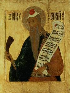Russian Icon of the Prophet Samuel with a Horn and an Open Scroll, 17th Century