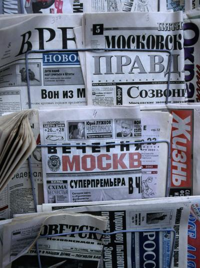 Russian Newspapers, Including Pravda and Moscow Evening News, at Newsstand, Moscow, Russia-Jonathan Smith-Photographic Print