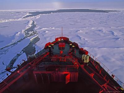 Russian Nuclear Icebreaker, Forges Towards the North Pole-Gordon Wiltsie-Photographic Print