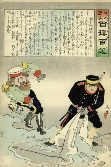 Russian Officer and a Japanese Officer Standing on a Large Map-Kobayashi Kiyochika-Giclee Print
