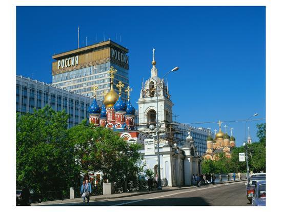 Russian orthodox churches at Hotel Rossiya, Moscow, Russia--Art Print