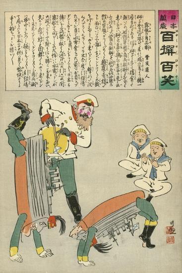 Russian Oshishi Acrobatic Street Dancer Master Entertains the Children of Japan-Kobayashi Kiyochika-Giclee Print