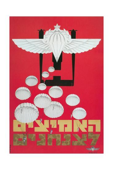 Russian Poster with Parachutes--Giclee Print