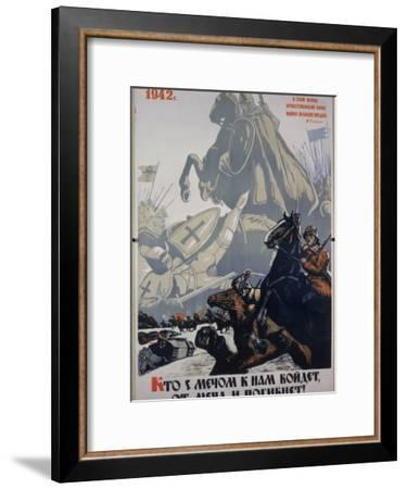 Russian Propaganda Poster--Framed Premium Photographic Print