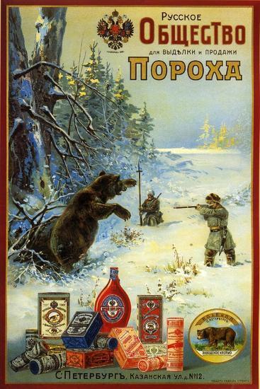 Russian Society for Productin of Gunpowder - Hunting Bears in Siberia--Art Print