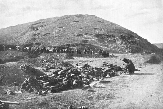 Russian Soldiers Collecting Cartridges from the Dead before Burial, Russo-Japanese War 1904-5--Giclee Print