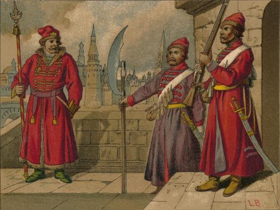 'Russian Strelitzi and Turkish Guards of the 17th Century - Officer, Privates', c19th century-Unknown-Giclee Print