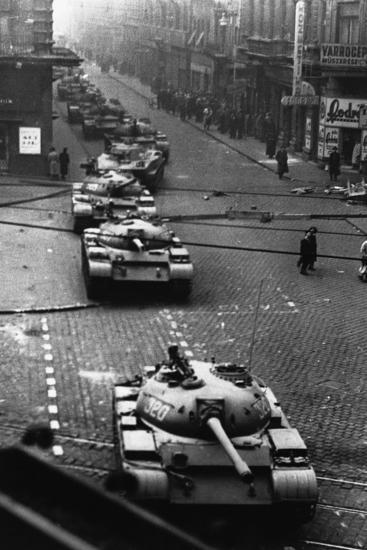 Russian Tanks on Budapest Street in 1956--Photographic Print