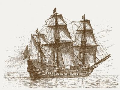 The Swedish Flagship Mars, before the Battle of Gotland-Oland (Etching)