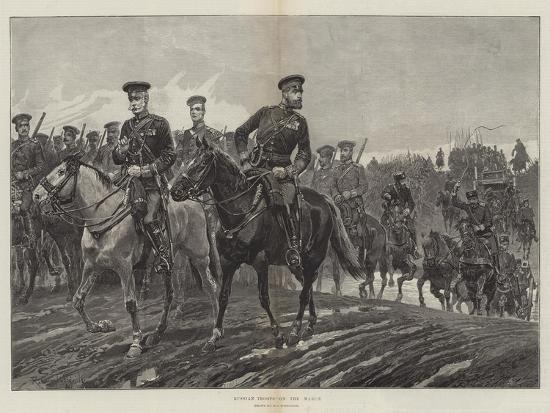 Russian Troops on the March-Richard Caton Woodville II-Giclee Print