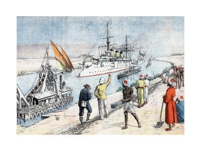 Russian Warships Passing Through the Suez Canal, Russo-Japanese War, 1904-5--Giclee Print