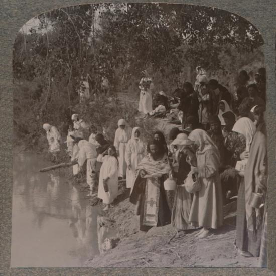 'Russian women holding service on the banks of the Jordan', c1900-Unknown-Photographic Print